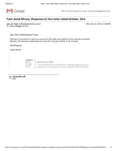 Assaf Winery response letter 5.11.2018