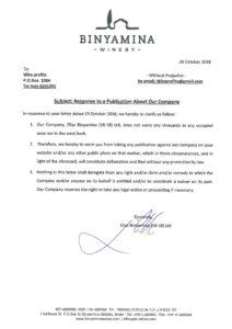 Binyamina Winery response letter 28.10.2018